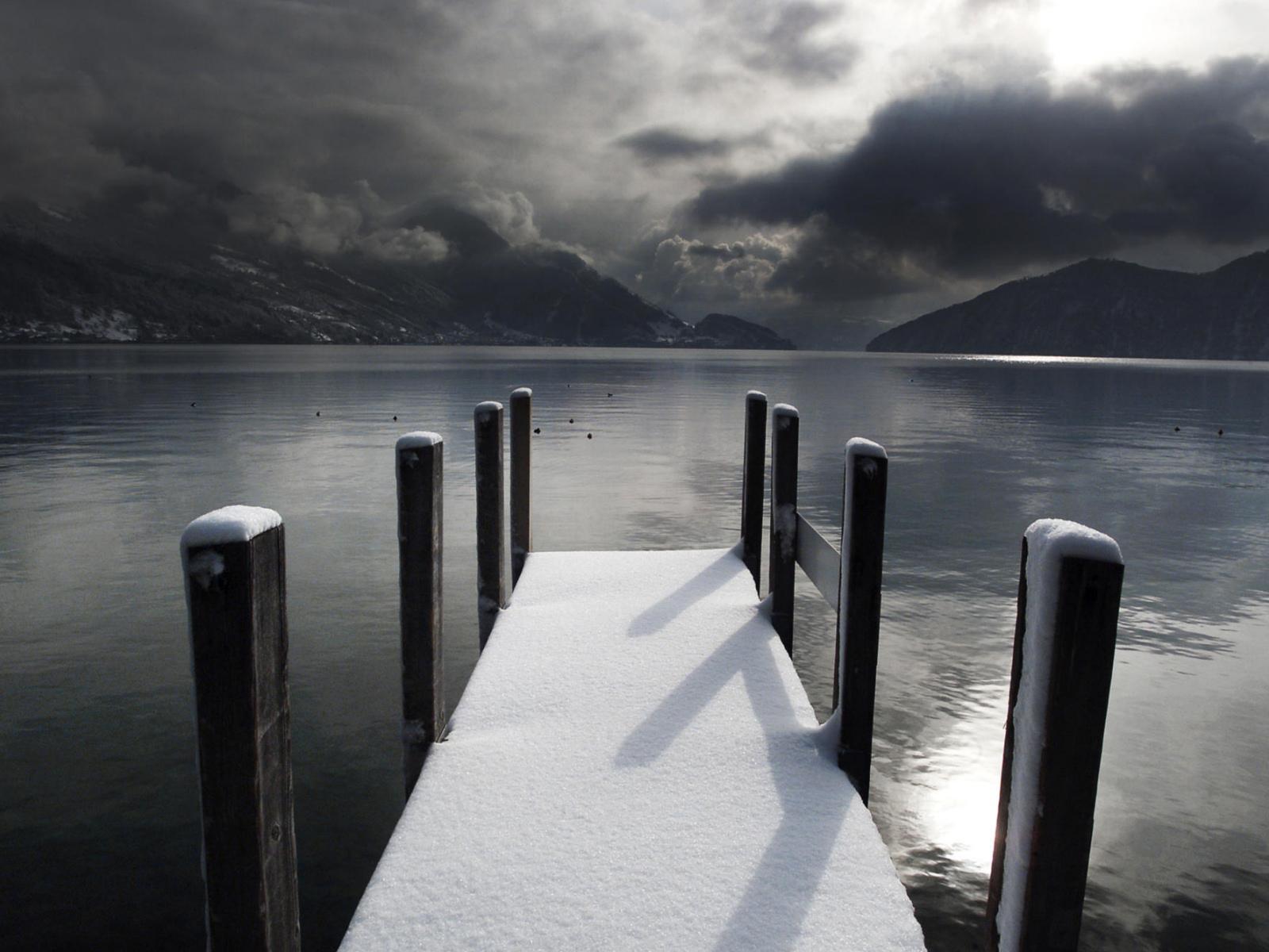 Fabuleux nature ponton lac hiver noir et blanc - 10 000 Fonds d'écran HD  AC29