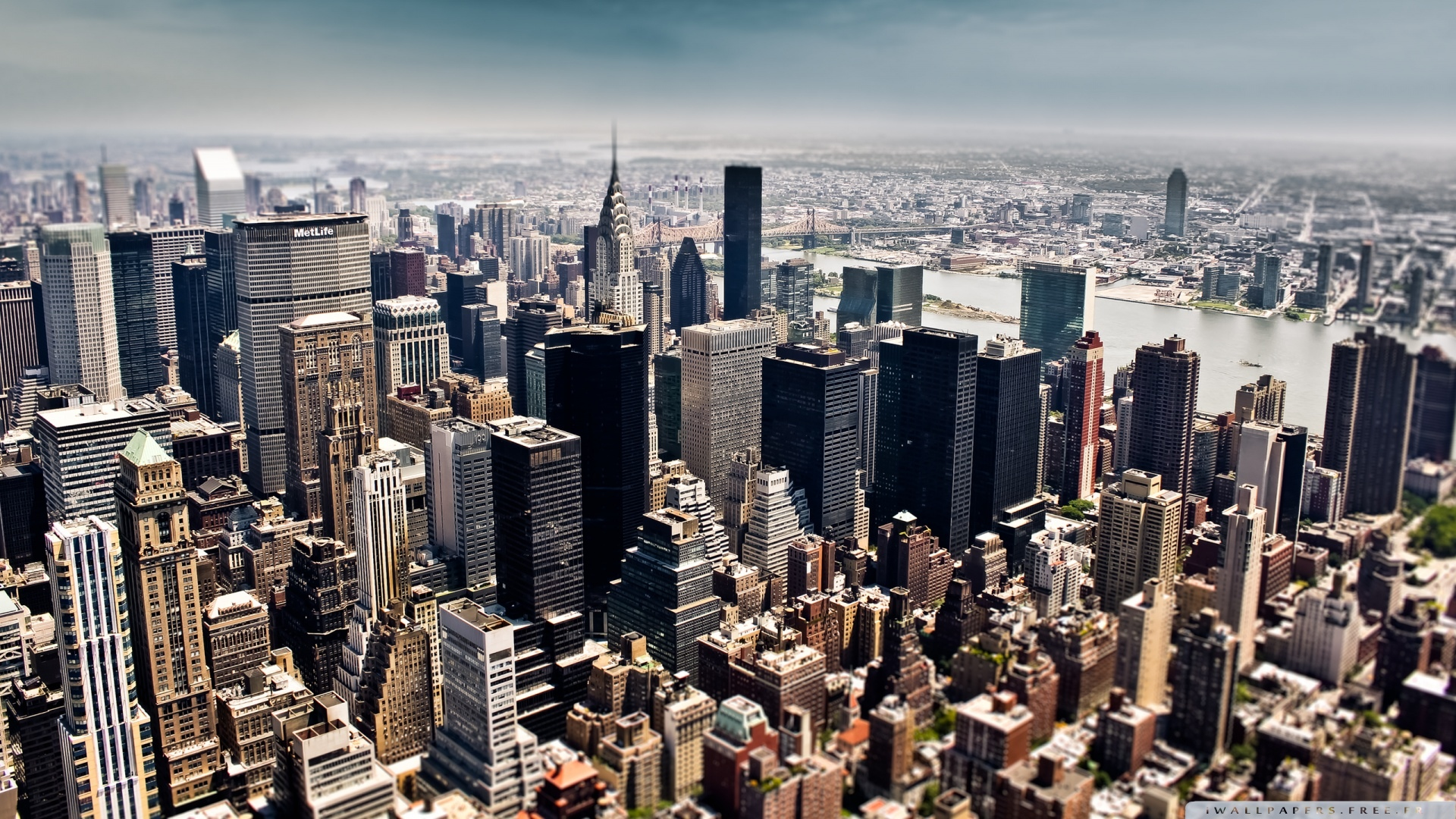 Très aerial view of new york city tilt shift photography-wallpaper  VV44